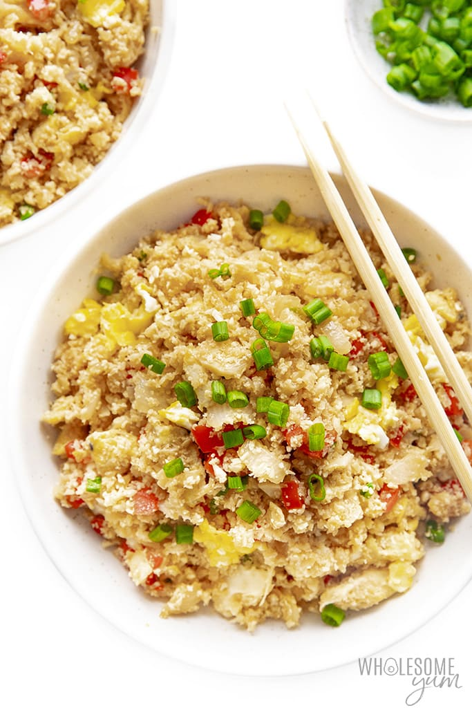 Cauliflower fried rice topped with green onions