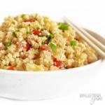 White bowl of keto fried rice