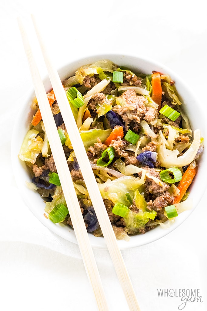 easy egg roll in a bowl recipe with chopsticks