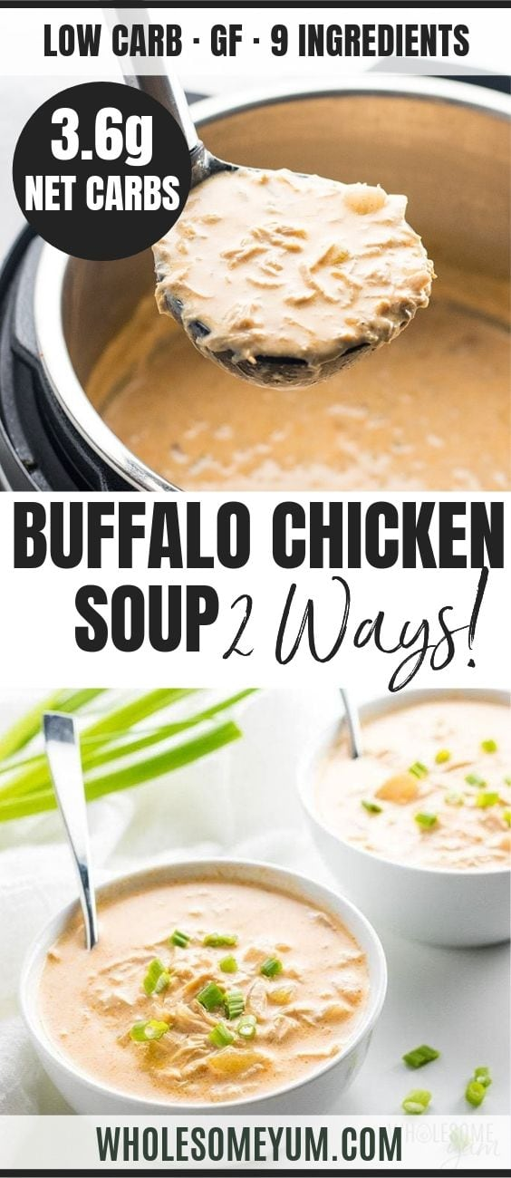 Low Carb Buffalo Chicken Soup - Pinterest image