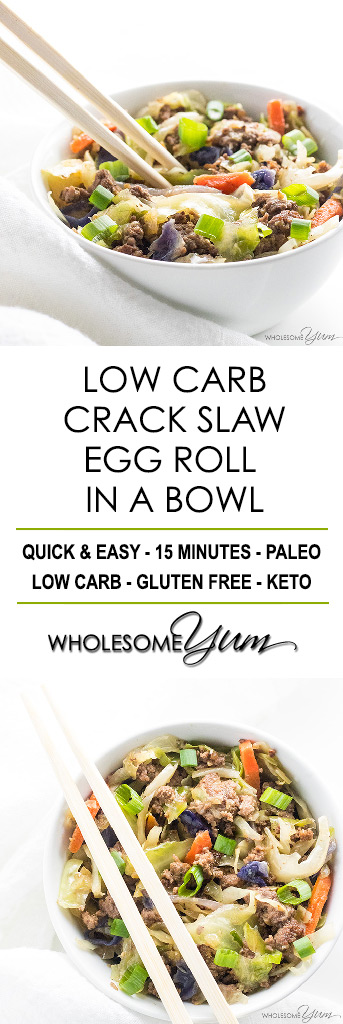 Low Carb Crack Slaw Egg Roll in a Bowl Recipe - For the fastest, easiest keto paleo dinner, try this crack slaw egg roll in a bowl recipe. It's made with common ingredients and takes just 15 minutes!