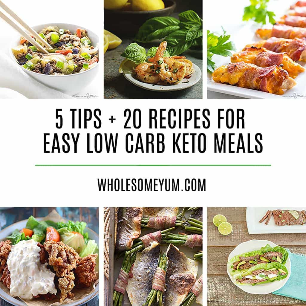 20 Delicious Easy Low Carb Keto Meals - Recipes, Ideas & Tips - If you are looking for ways to make quick keto meals, this article offers the best tips and 20 keto recipe ideas to do it. The whole family will love these easy low carb meals!