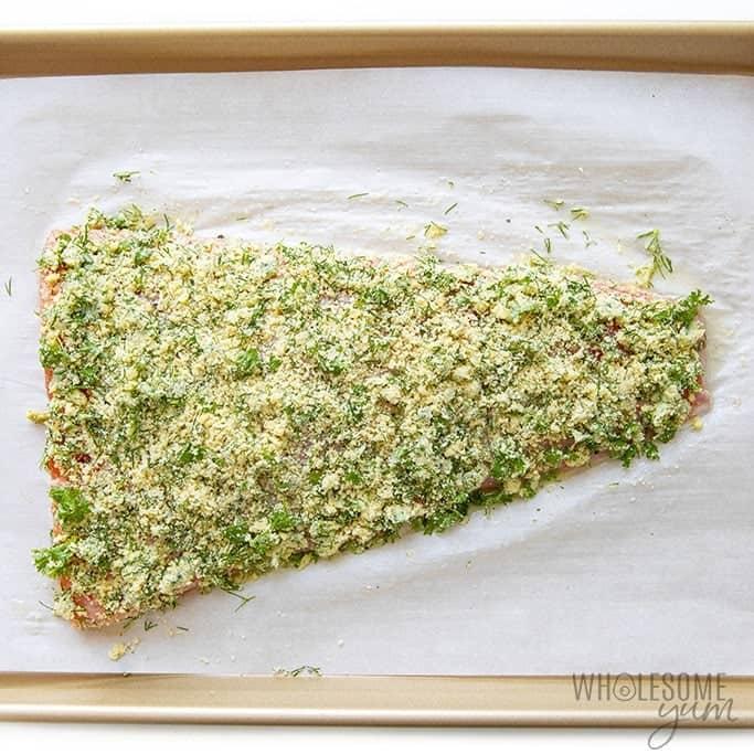 Parmesan crusted salmon fillet before baking