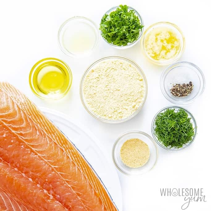 Ingredients to make garlic parmesan salmon
