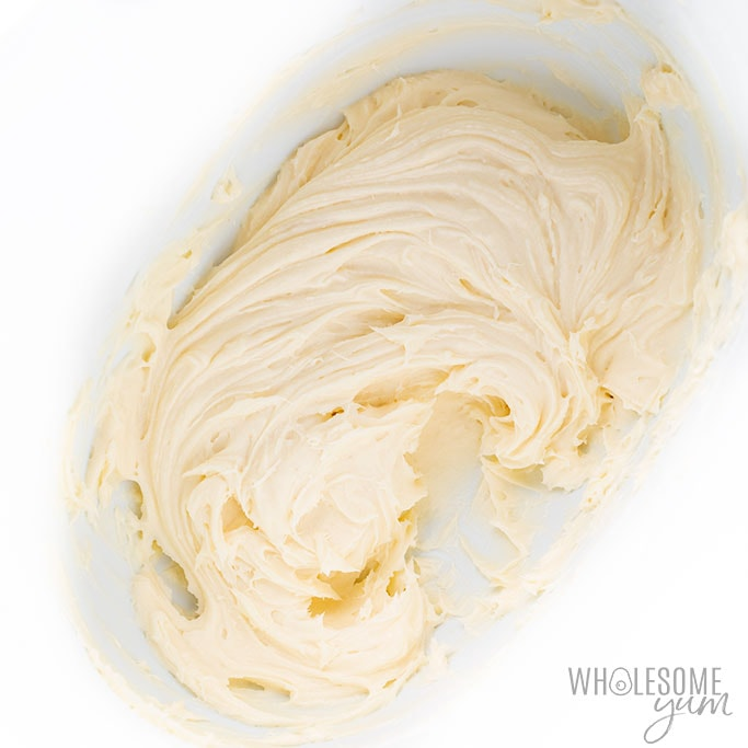 Low Carb Keto Cream Cheese Frosting in a mixing bowl