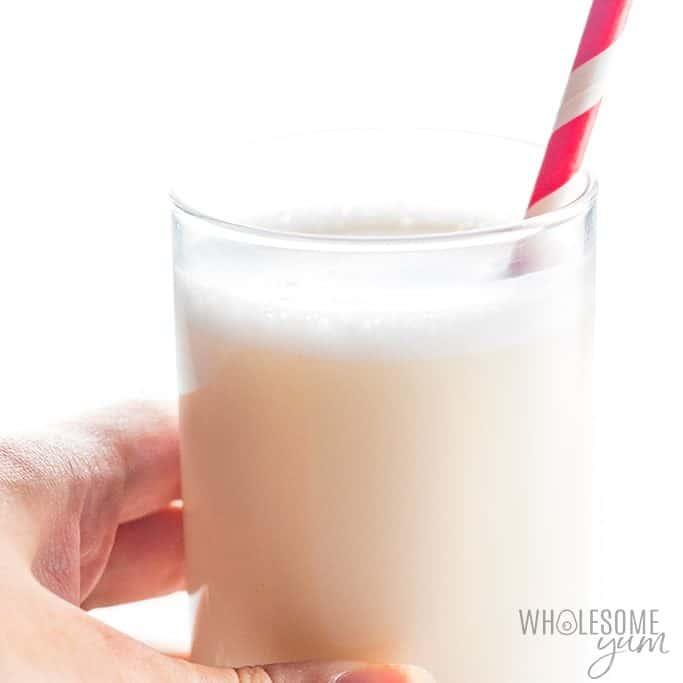 Drinking unsweetened almond milk