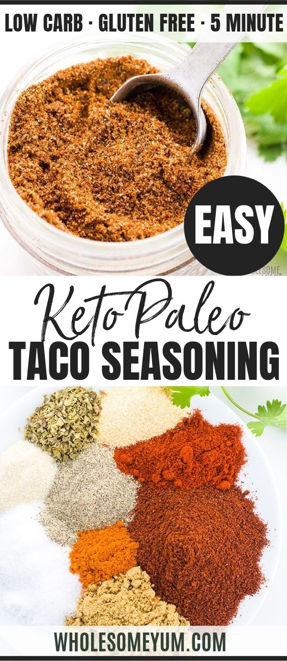 Gluten-free Keto Low Carb Taco Seasoning - Pinterest image