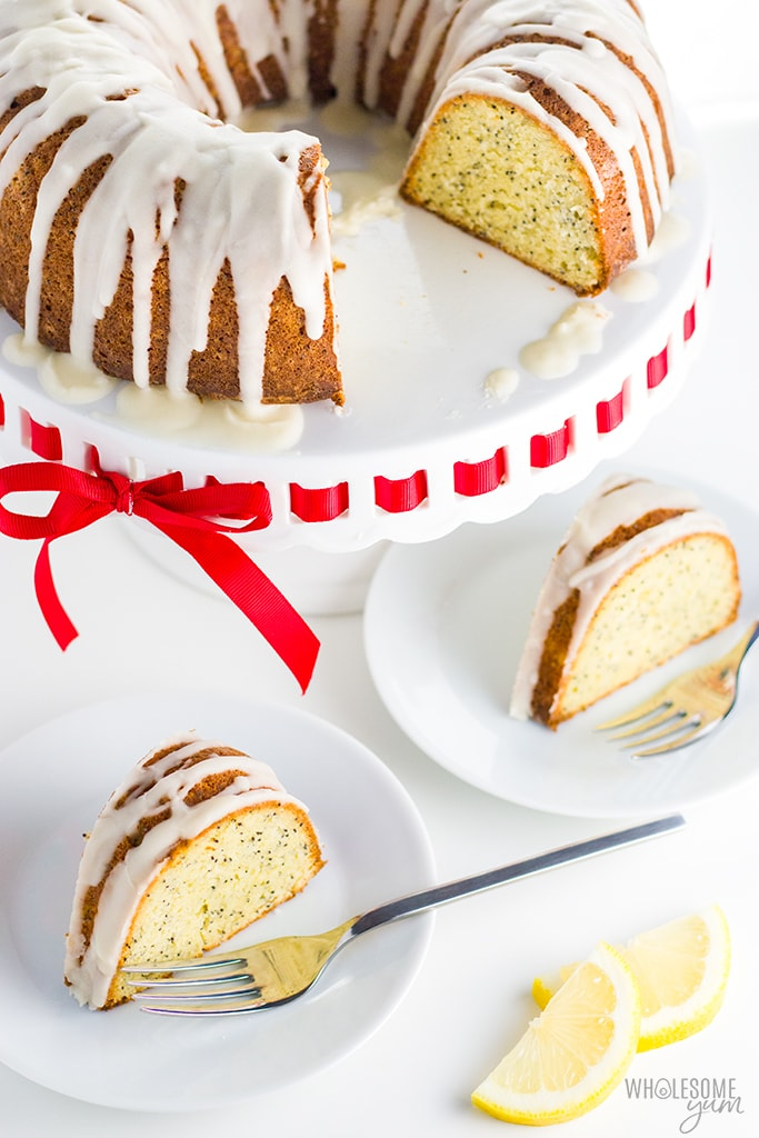 Lemon Poppy Seed Keto Gluten-Free Pound Cake Recipe with Almond Flour - No one will guess that this easy lemon poppy seed bundt cake with almond flour has no sugar or grains. It's the best low carb gluten-free pound cake recipe I've ever had - and prep takes just 15 minutes!