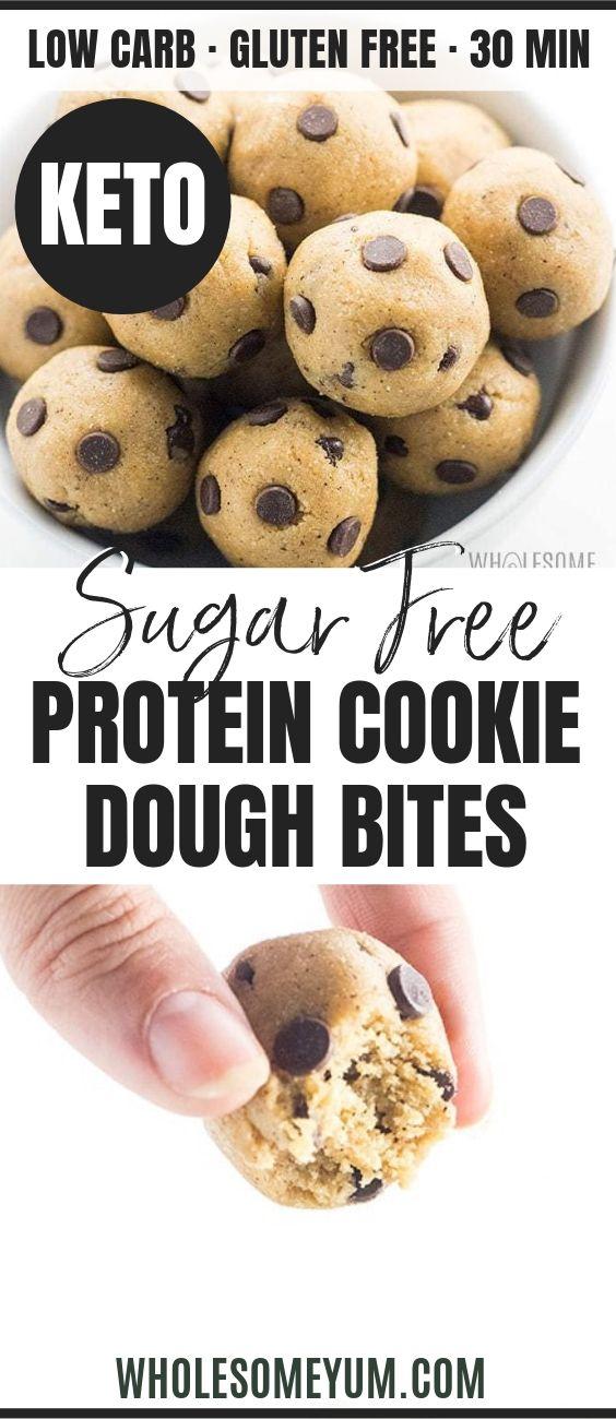 Low Carb Keto Protein Cookie Dough Bites - Pinterest image