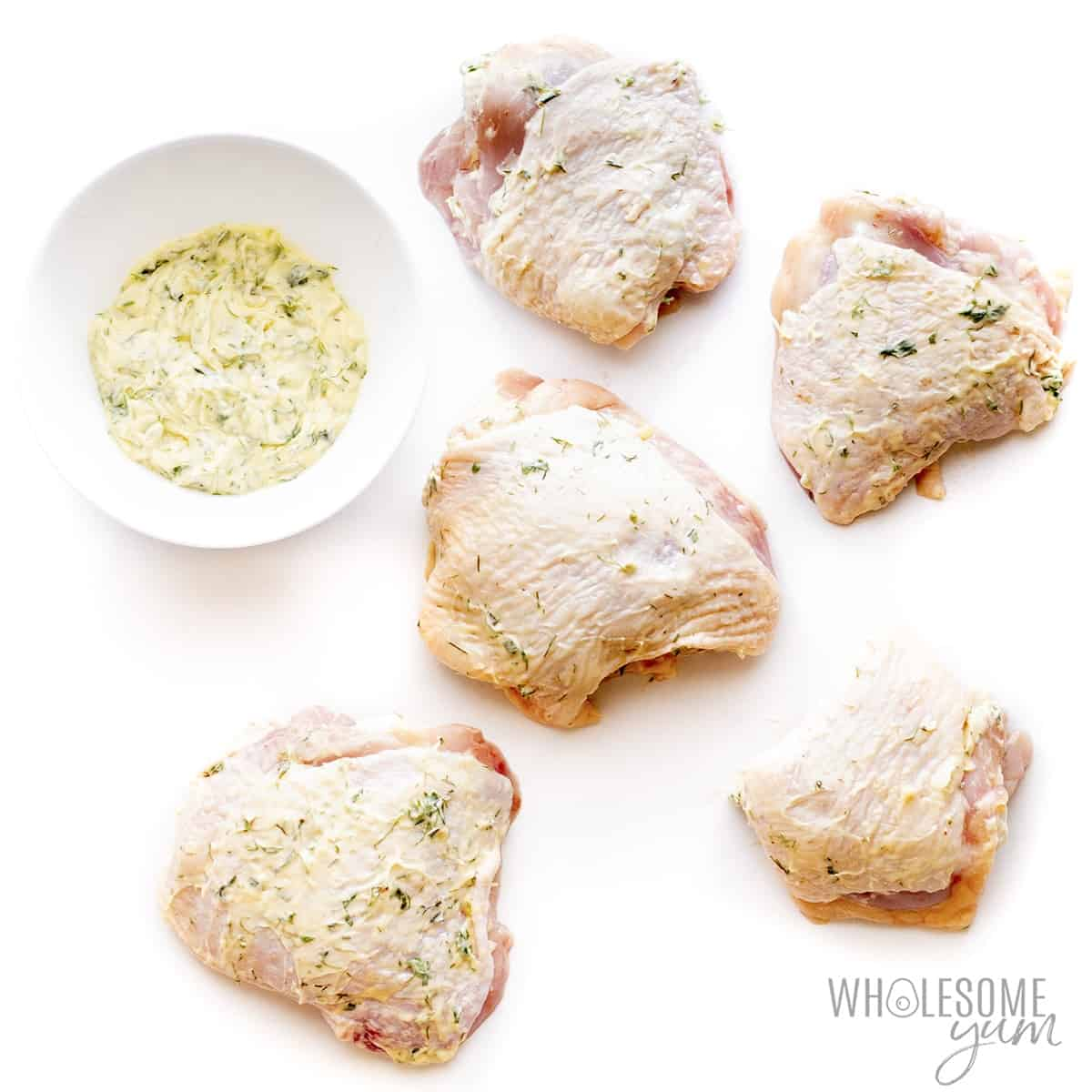 Chicken thighs with compound butter
