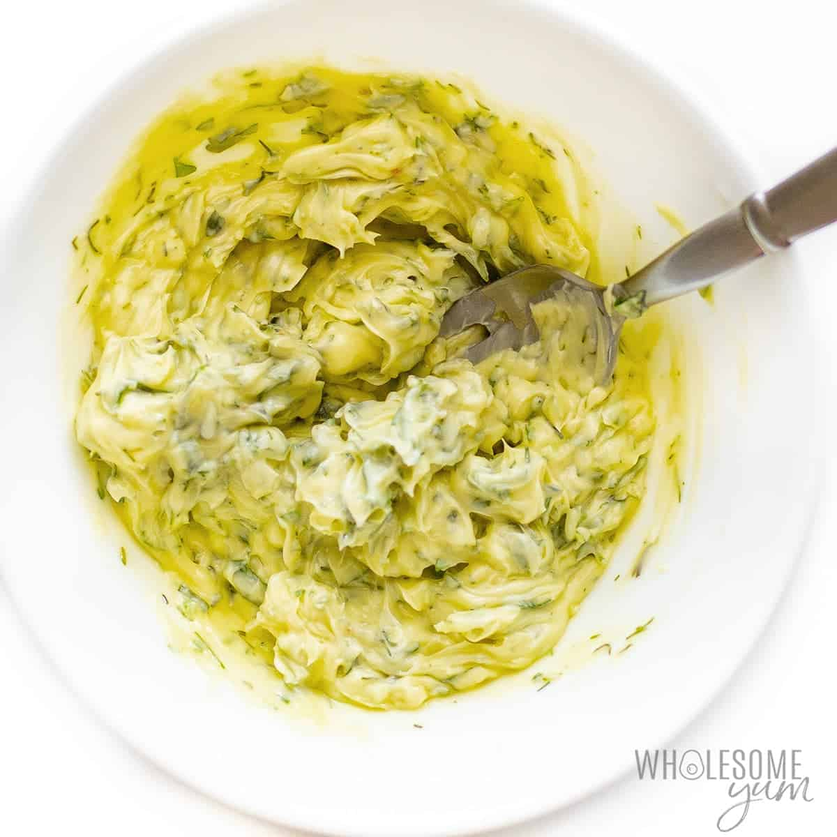 Compound butter for chicken in a bowl