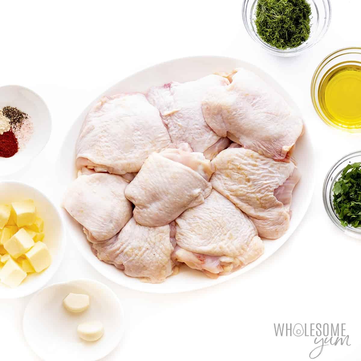 Ingredients to make chicken thighs recipe