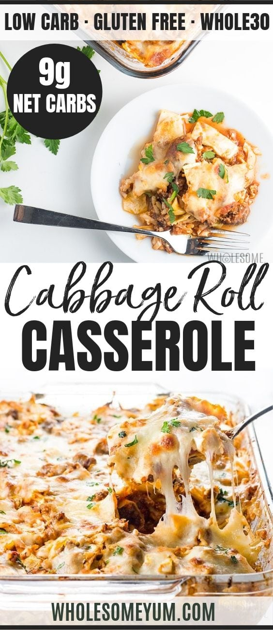 Easy Lazy Cabbage Roll Casserole - Pinterest image