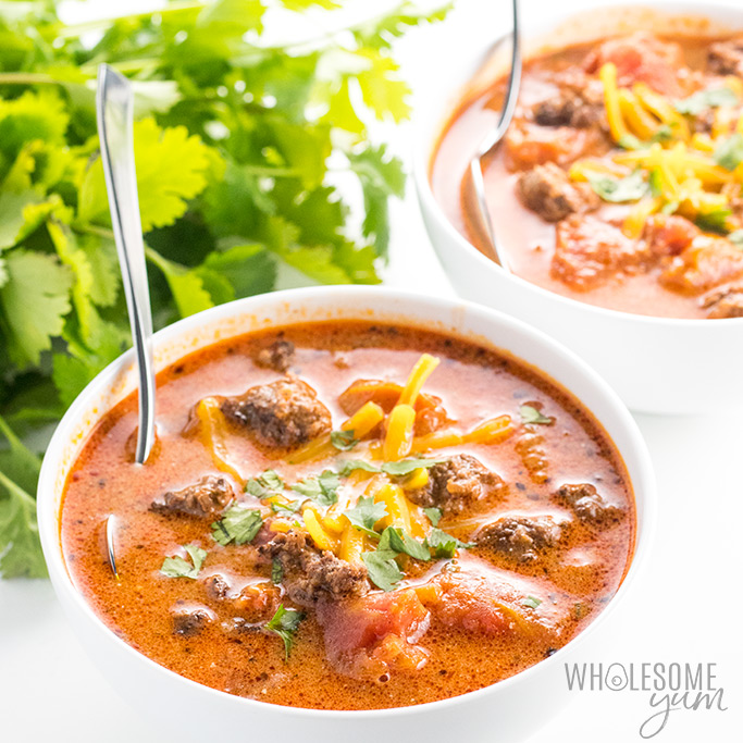 See how to make taco soup on the stove - it takes only 20 minutes and 5 ingredients! The whole family will love this easy low carb taco soup recipe with ranch dressing. Keto, paleo, low carb, gluten-free, and sugar-free, with options for paleo and whole30.