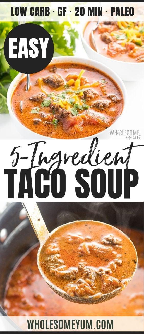 Easy Low Carb Taco Soup - Pinterest image