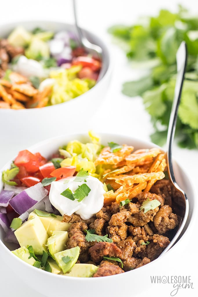 How To Make a Walking Taco Bowl - Recipe for a Crowd or Weeknight - These homemade taco bowls are an EASY recipe for how to make walking tacos. They are delicious and healthy! Learn how to make a turkey taco bowl for 4-6 people, or even walking tacos for a crowd of 50 or 100 people. Naturally low carb, gluten-free and healthy.