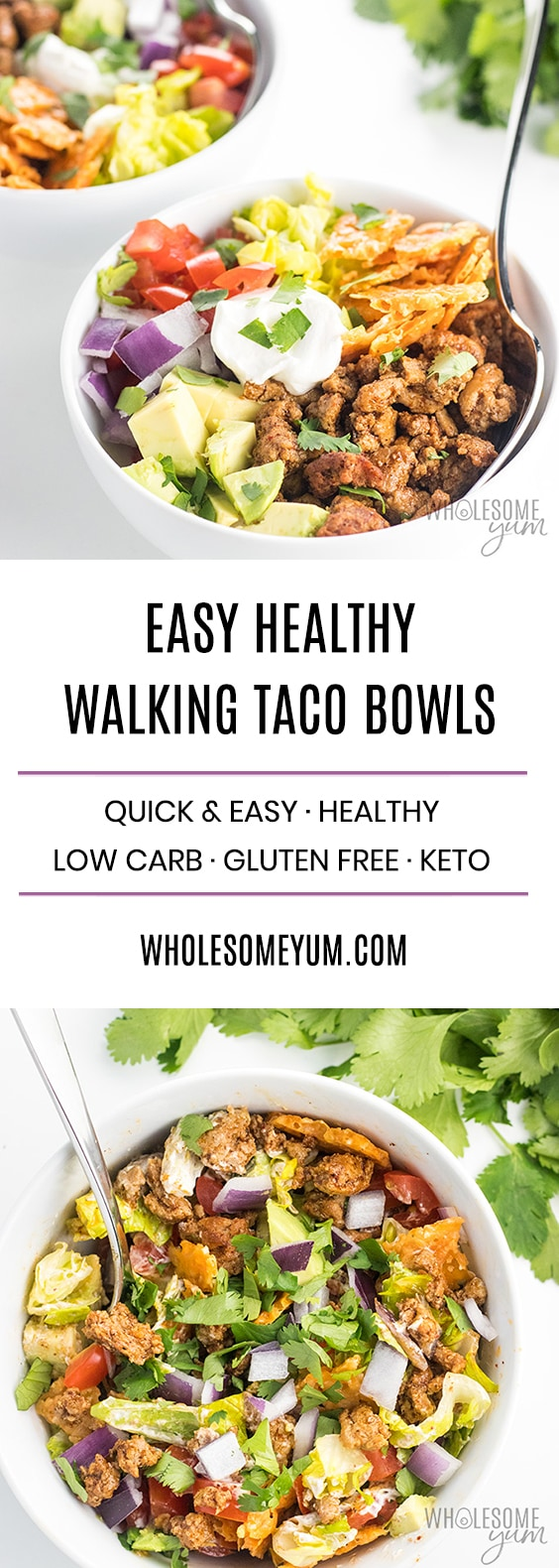 How To Make a Walking Taco Bowl - Recipe for a Crowd or Weeknight - These homemade taco bowls are an EASY recipe for how to make walking tacos. They are delicious and healthy! Learn how to make a turkey taco bowl for 4-6 people, or even walking tacos for a crowd of 50 or 100 people.