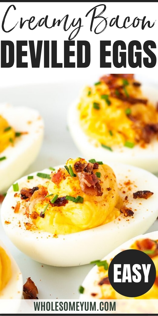 Easy Keto Deviled Eggs Recipe - Pinterest Image