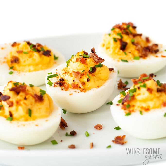plate of keto deviled eggs