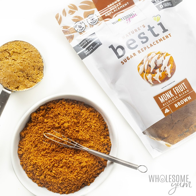 Overhead view of a bag of Besti Brown monk fruit alluose blend and seasoning for low carb cinnamon rolls