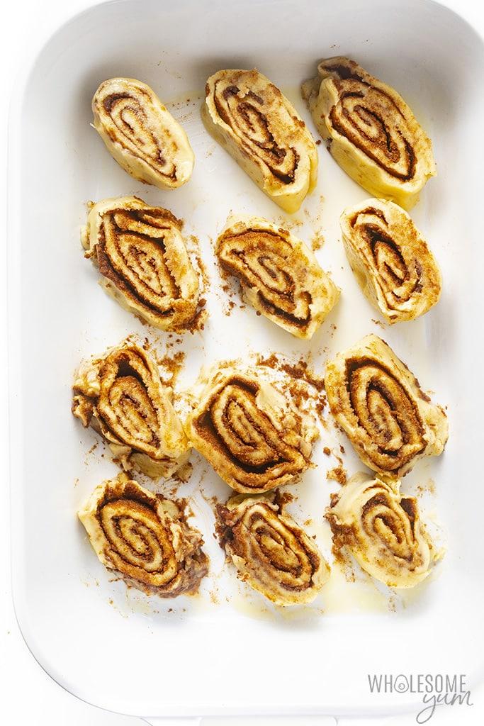 Fathead cinnamon rolls in a baking dish before baking