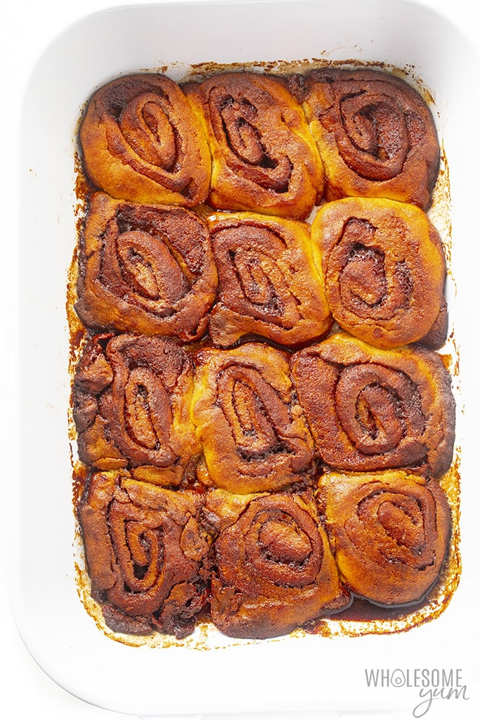 Overhead view of keto cinnamon rolls after baking