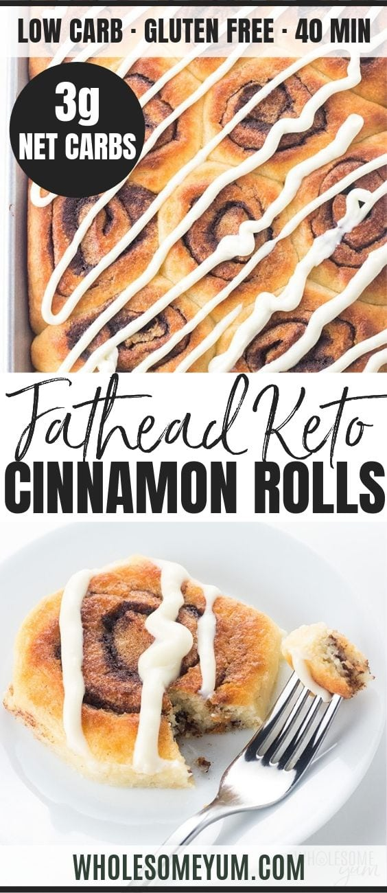 Fathead Keto Cinnamon Rolls - Pinterest image