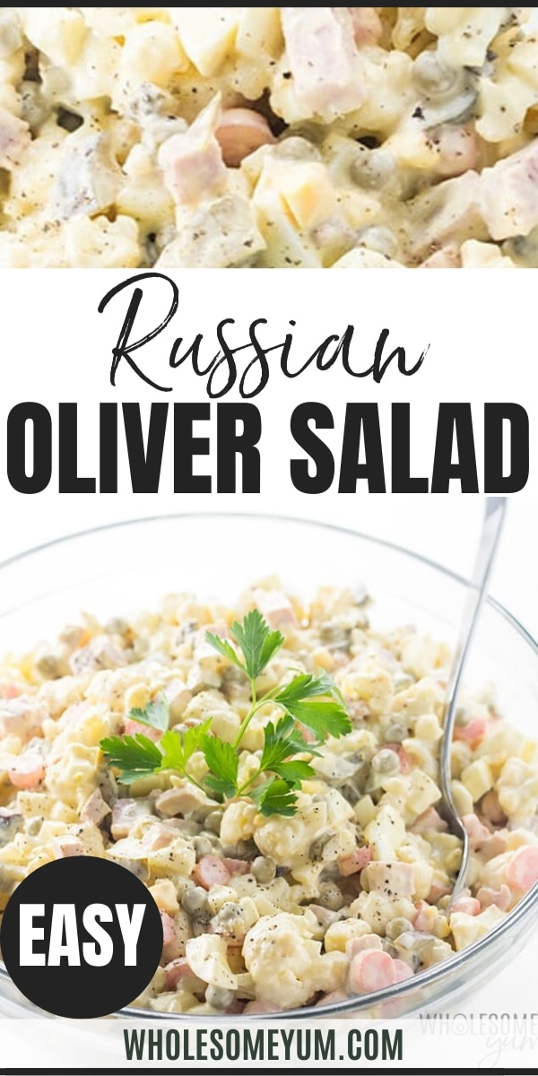"""Healthy """"Olivie"""" Russian Olivier Salad Recipe - This is a healthy version of the popular Salat Olivie (""""Салат Оливье"""")! Everyone will love this Russian Olivie Salad recipe - lower in carbs but just as delicious! It's easy to make and stores well."""