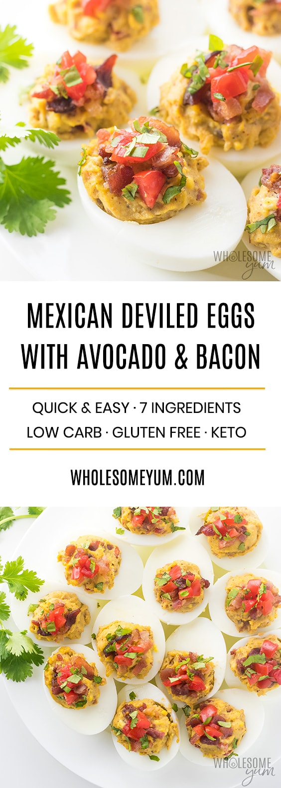 Mexican Keto Deviled Eggs Recipe with Avocado and Bacon - Mexican deviled eggs make a delicious and simple deviled egg recipe! These naturally keto deviled eggs with avocado and bacon are easy to make, with common ingredients. Such a flavorful take on avocado deviled eggs! Low carb, paleo, and gluten-free, too.