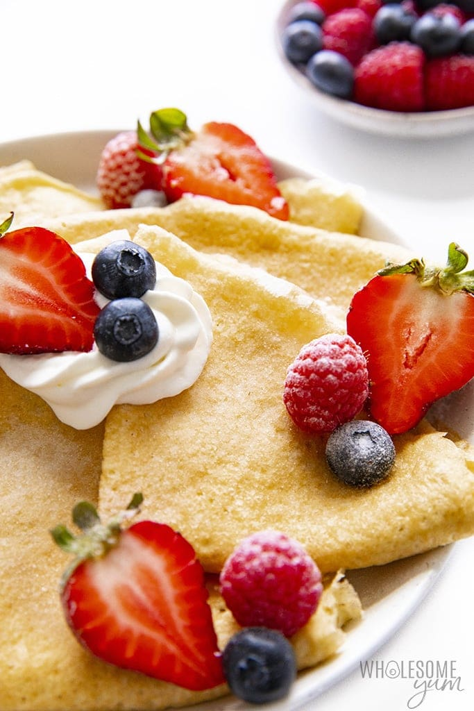 Low carb crepes close up folded on a plate