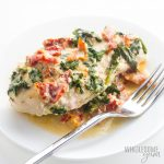 Creamy Tuscan garlic chicken in the slow cooker makes an easy low carb dinner the family will love. Just 15 minutes prep for this Crock Pot Tuscan chicken recipe!