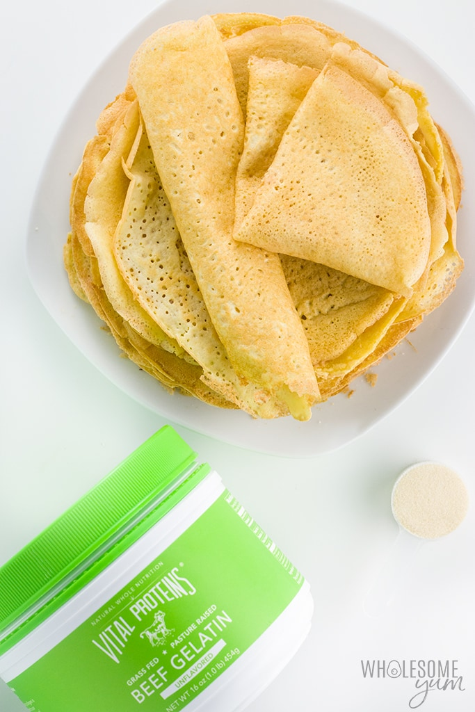 Gluten-free Keto Crepes Recipe with Almond Flour - The best foolproof keto crepes recipe! These paleo, gluten-free crepes with almond flour taste just like real ones, and they will bend, roll and fold without breaking. Options for sweet or savory!