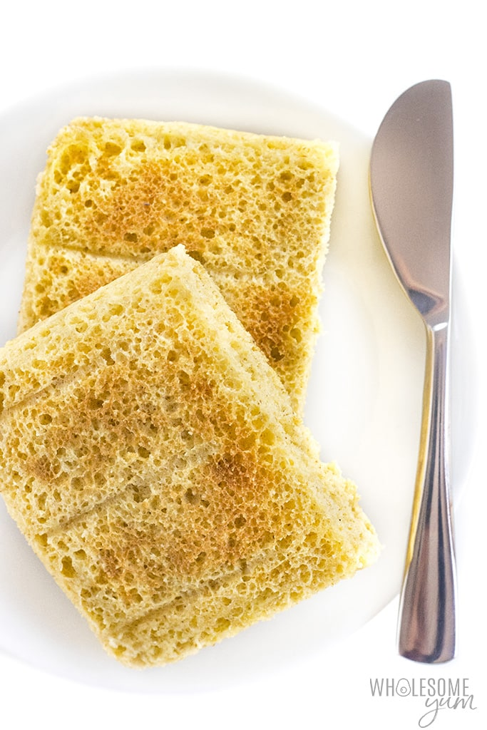Toasted keto mug bread on a plate