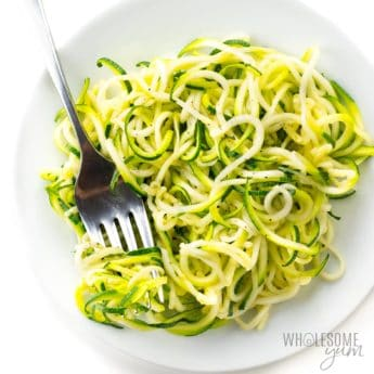 How to make zucchini noodles - shown on a plate