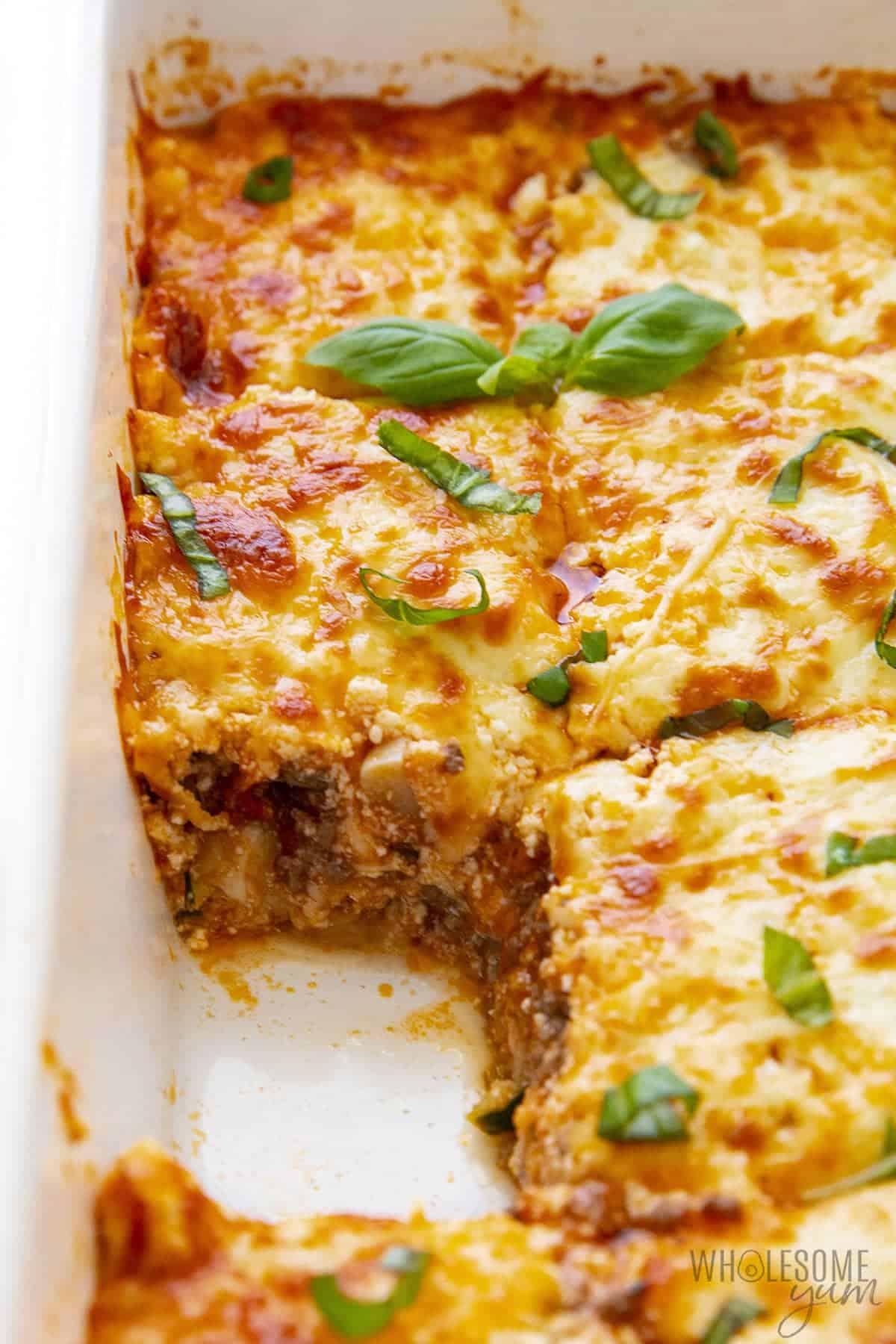 Pan of keto zucchini lasagna showing the inside layers