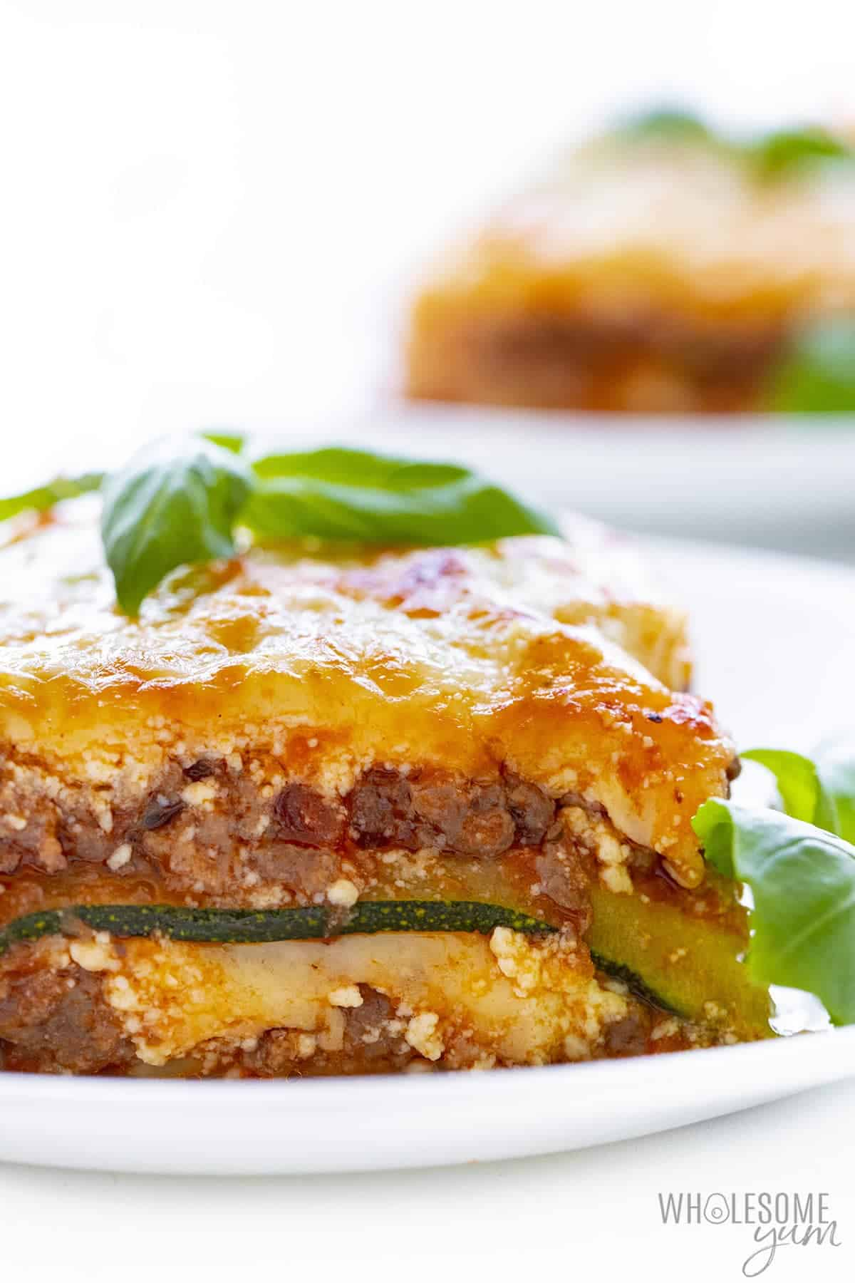 Close up showing layers of lasagna with zucchini noodles