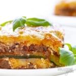 Slice of zucchini lasagna on a plate