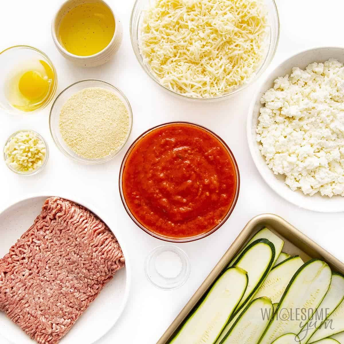 Zucchini lasagna ingredients