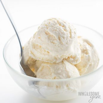 You only need 4 ingredients and 20 minutes prep to make this easy Atkins ice cream recipe without an ice cream maker! Enjoy high fat, protein rich ice cream without sugar.