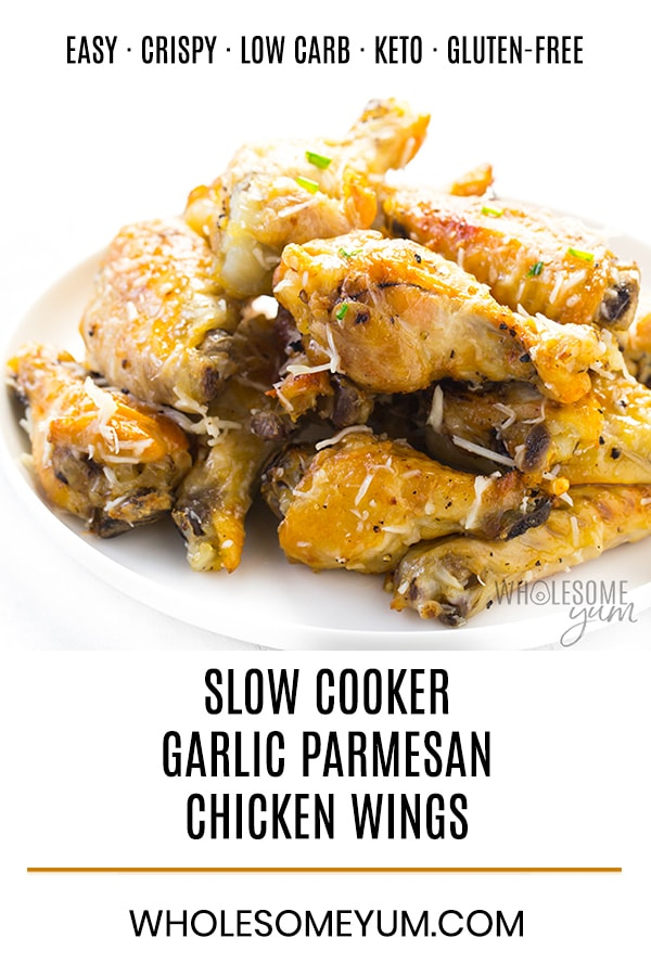 Easy Slow Cooker Garlic Parmesan Chicken Wings Recipe - Learn how to make garlic parmesan chicken wings that are SO CRISPY! This easy slow cooker chicken wings recipe needs just 4 ingredients and quick prep.