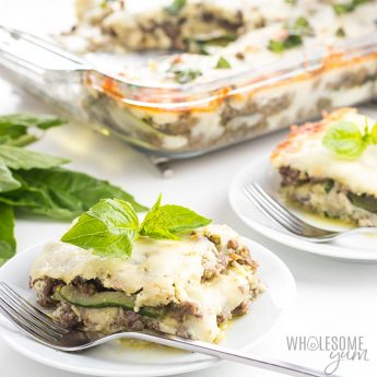 Low Carb Keto Zucchini Lasagna Recipe with Meat & Pesto - No Noodles - Delicious low carb keto zucchini lasagna with meat & pesto! This easy zucchini lasagna recipe includes lots of TIPS, plus freezing & make ahead instructions. No noodles needed!