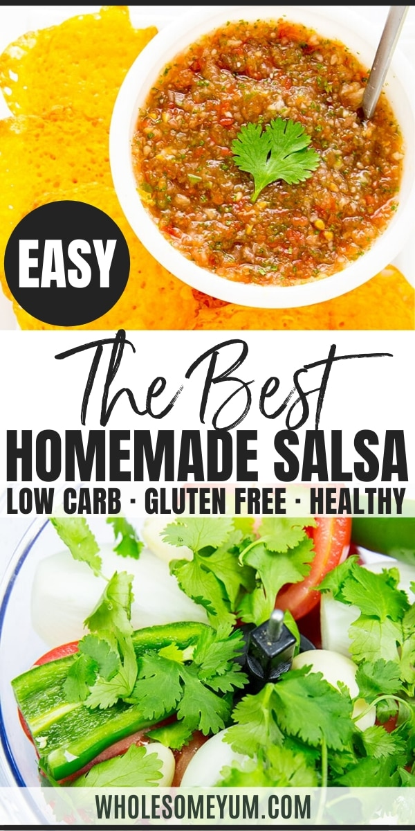 Homemade Salsa with Fresh Tomatoes and Cilantro Recipe - 5 Ingredients - This easy homemade salsa recipe is simple and fast. Just 5 ingredients & 5 minutes for the best homemade salsa with fresh tomatoes and cilantro!