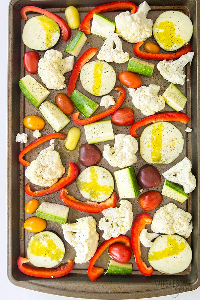 Cold roast vegetable salad with feta and balsamic dressing needs just a few simple ingredients! This easy roasted vegetable salad recipe stores well and is made with low carb veggies.