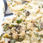 Low Carb Chicken Zucchini Casserole Recipe with Gruyere Cheese Sauce - This low carb chicken zucchini casserole recipe comes with a delicious gruyere cheese sauce - and an EASY method to avoid a watery zucchini casserole!