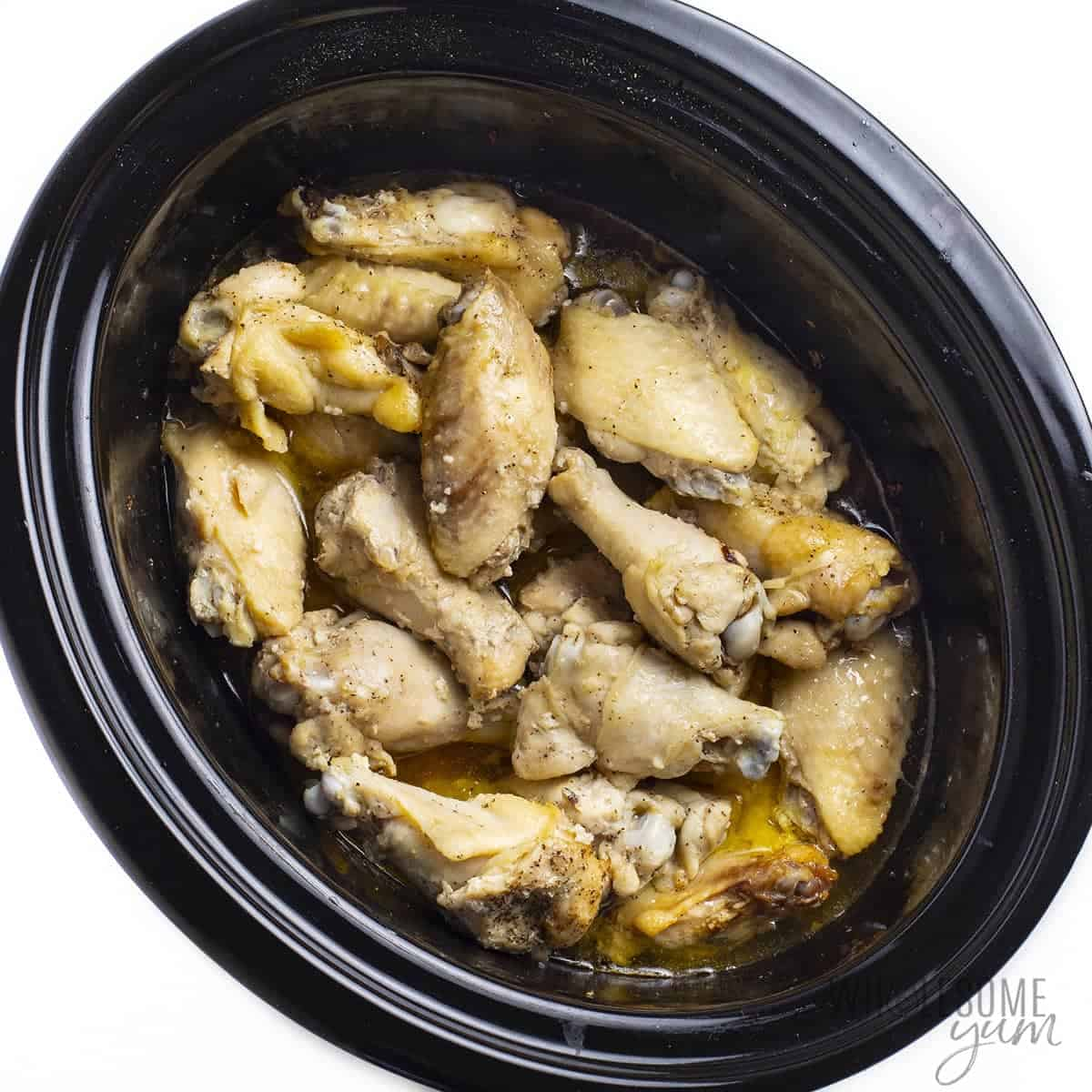 Cooked chicken wings in slow cooker