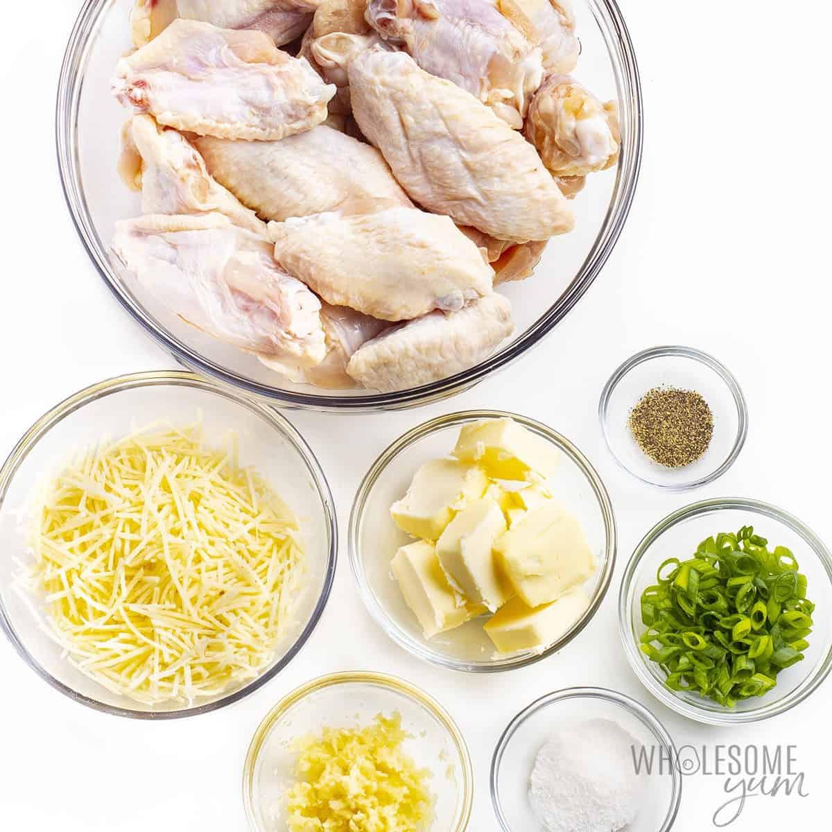 Ingredients to make garlic parmesan wings recipe