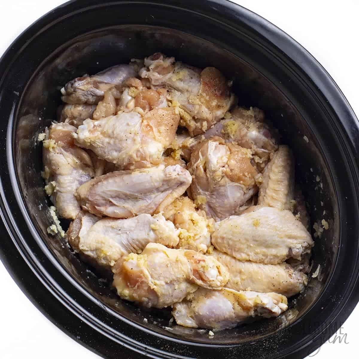 Garlic parmesan chicken wings in slow cooker