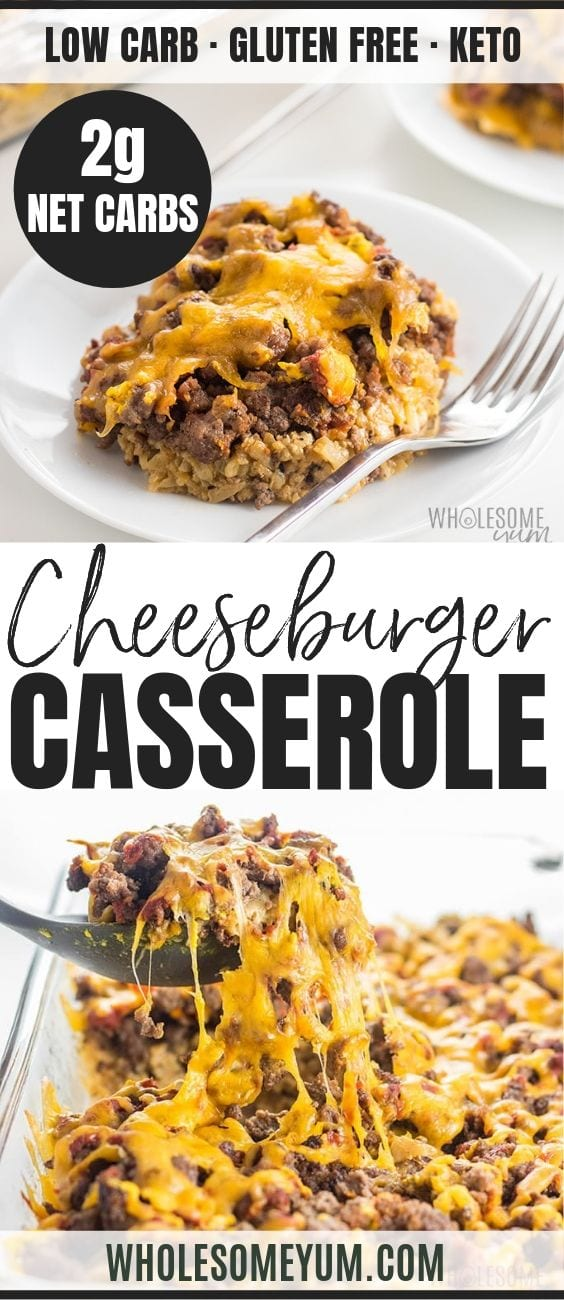Easy Low Carb Keto Cheeseburger Casserole - Pinterest image