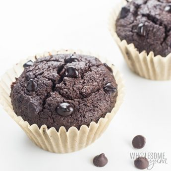 Low Carb Double Chocolate Protein Muffins Recipe - These low carb double chocolate protein muffins are easy to make, moist & delicious. This healthy protein muffin recipe needs just 10 minutes prep time! Detail: low-carb-double-chocolate-protein-muffins-recipe-5
