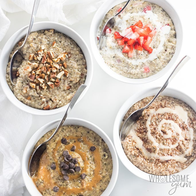 Easy Low Carb Keto Oatmeal Recipe - Learn how to make keto oatmeal 4 ways - maple pecan, strawberries & cream, chocolate peanut butter, or cinnamon roll - all based on an easy low carb oatmeal recipe with 5 ingredients!